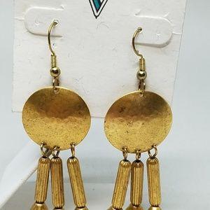 Gold-Tone-Dangle-Pierced-Earrings-Vintage